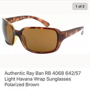 Ray Ban RB 4068 Havana Wrap Sunglasses Polarized
